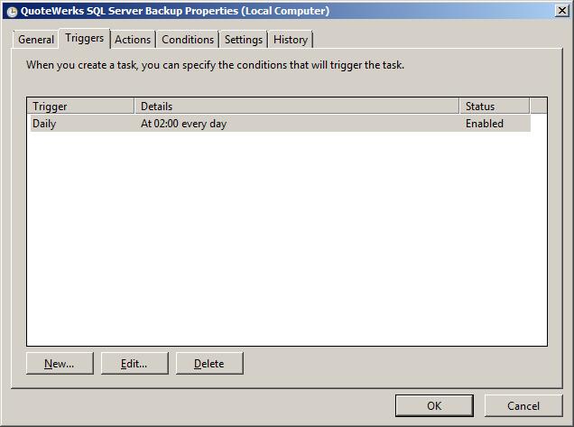 Task Properties - Triggers
