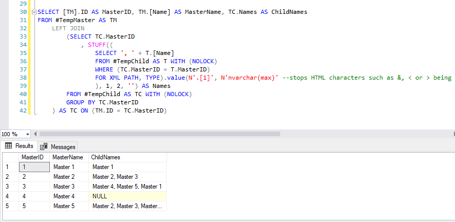 SQL Server STUFF example results